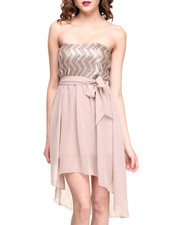Almost Famous - Sequin Strapless Chiffon Hi-Lo Dress
