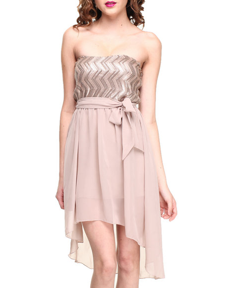 Almost Famous - Women Cream Sequin Strapless Chiffon Hi-Lo Dress - $16.99