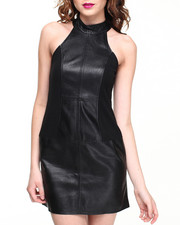 Women - Above You Faux Leather Halter Dress