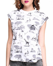 Women - Safari Printed Tee w/ Rolled Sleeves