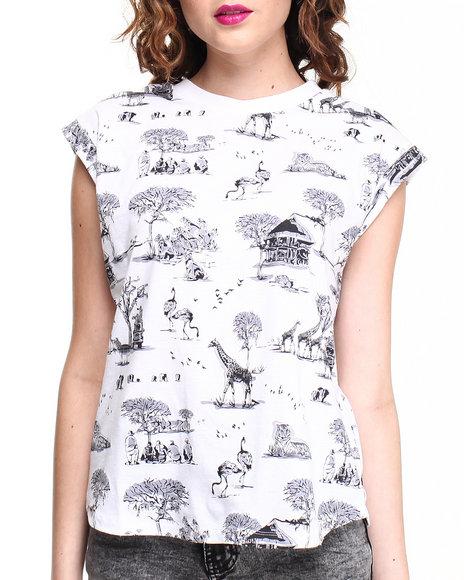 Bellfield - Women White Safari Printed Tee W/ Rolled Sleeves