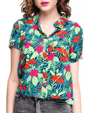 Women - Tropical Print Boxy Button Down w/ 2 Chest Pockets