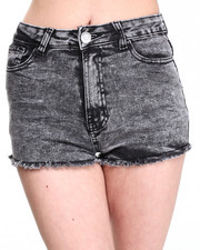 Women - V-Shape Frayed Denim Shorts