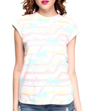 Women - Palm Tree Striped Tee w/ Rolled Sleeves