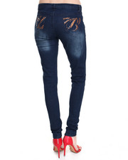 Skinny - Destructed Skinny Jean W/Beaded Back Pockets
