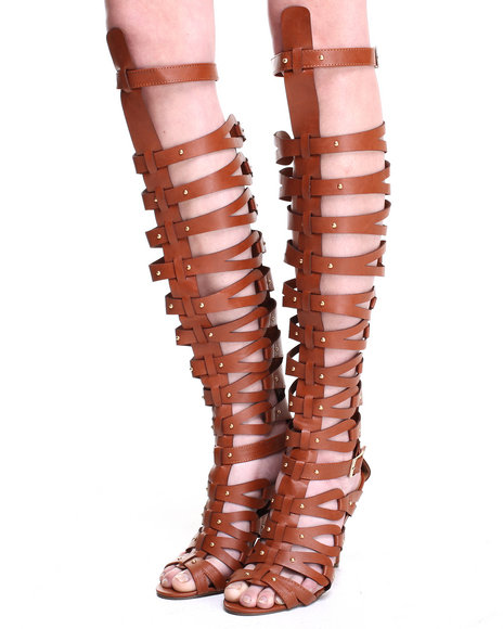 Fashion Lab - Women Tan Jamie Strappy Over The Knee Gladiator Sandal Pump