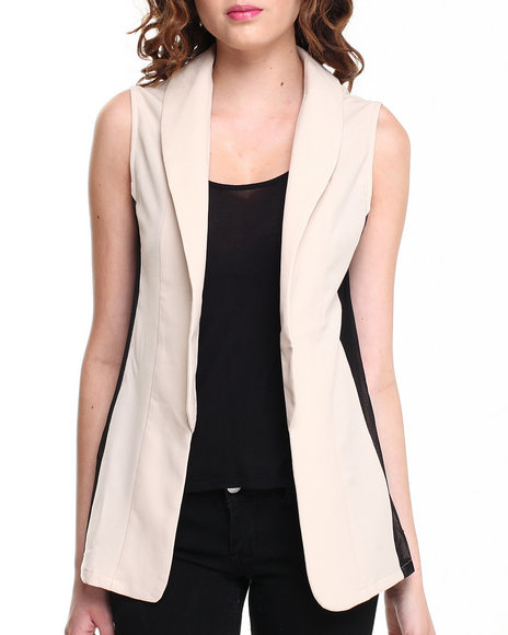 Fashion Lab - Women Beige,Black Lola Vest W/ Mesh Inset - $23.99