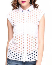 Women - Large Eyelet Woven Shirt w/ Parrot Embroidery on Collar