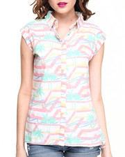 Women - Washed Palm Tree Printed Short Sleeve Shirt