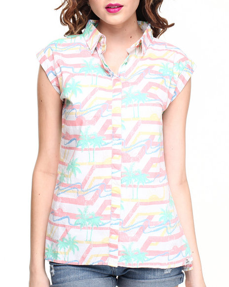 Bellfield - Women White Washed Palm Tree Printed Short Sleeve Shirt