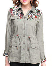 Light Jackets - Festival Lightweight Parka w/ Floral Panels & Drawstring Waist