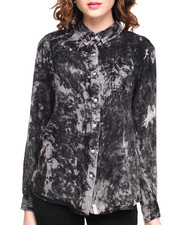 Women - Acid Washed Hi-Lo Button Down Shirt