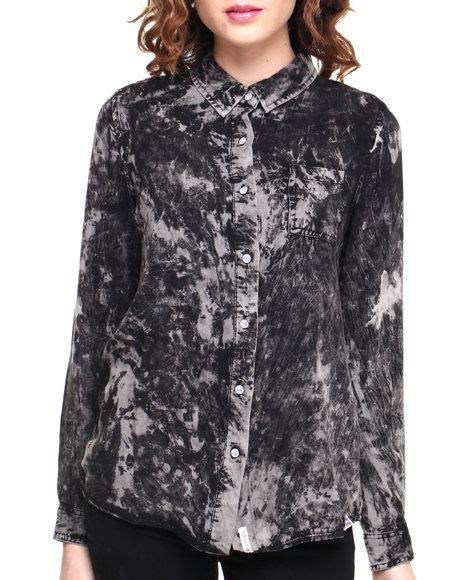 Bellfield - Women Black,Grey Acid Washed Hi-Lo Button Down Shirt - $30.99