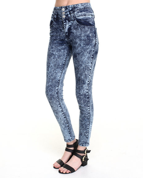 Basic Essentials - Women Medium Wash Acid Wash High-Waist Skinny Ankle Jean - $14.99