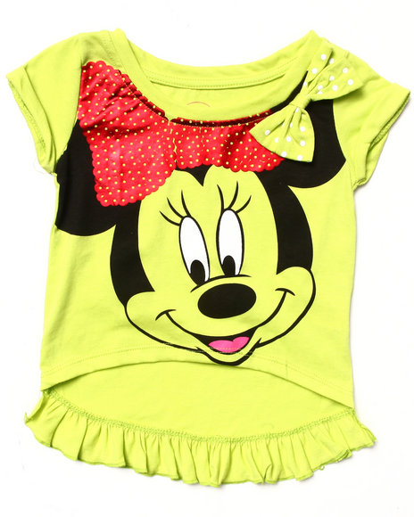 La Galleria Girls Lime Green Sequin Embellished Minnie Tee (2T-4T)