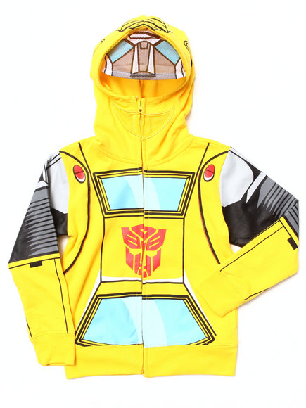 Arcade Styles - Boys Yellow Transformers Bumblebee Mesh Mask Hoodie (4-7)