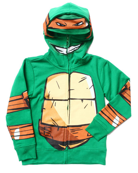 Arcade Styles Boys Green Ninja Turtle Costume Overhead Hoody (4-7)