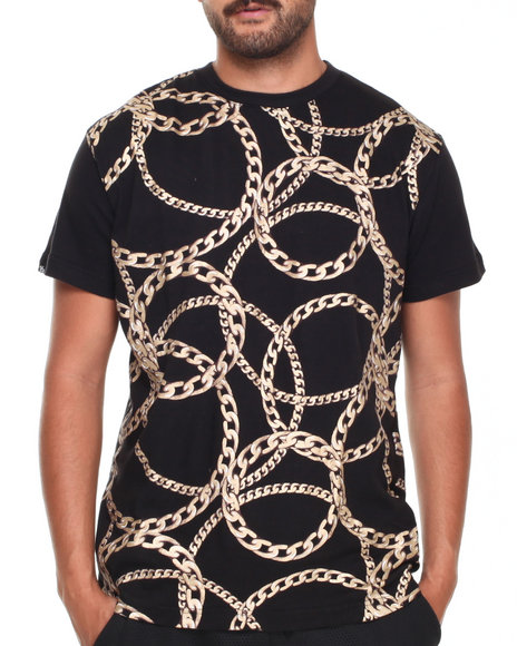Buyers Picks - Men Black All Over Gold Chains Tee - $18.99