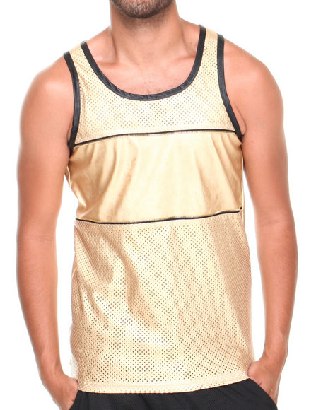 Basic Essentials - Men Gold Faux Leather Mesh Zipper Tank Top