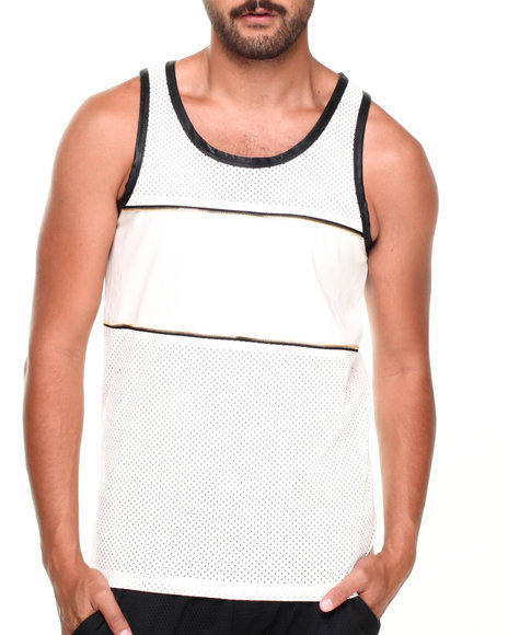 Buyers Picks - Men White Faux Leather Mesh Zipper Tank Top - $14.99