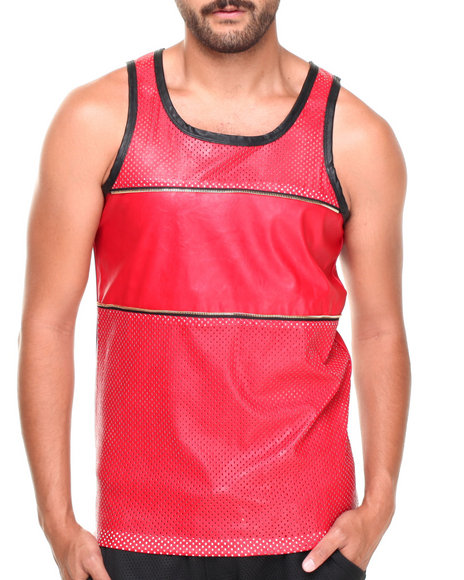 Basic Essentials - Men Red Faux Leather Mesh Zipper Tank Top - $14.99