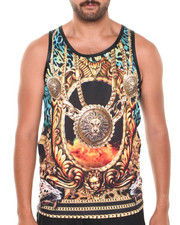 Basic Essentials - Tiger Faux Leather Crewneck Sublimation Tank Top