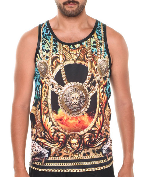 Basic Essentials - Men Black Tiger Faux Leather Crewneck Sublimation Tank Top