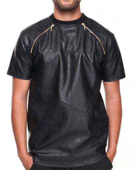 Basic Essentials - Men Black Color Blok Crew Neck Faux Leather Tee