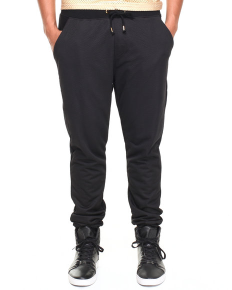 Basic Essentials - Men Black French Terry Mesh Pants
