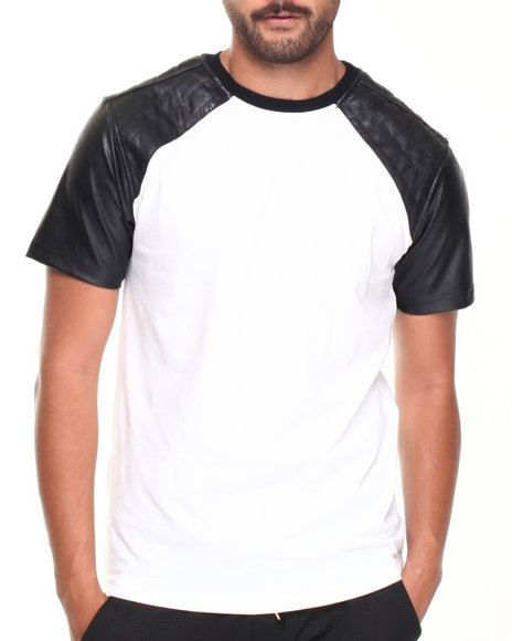 Basic Essentials - Men White Crew Neck Faux Leather Tee - $20.99