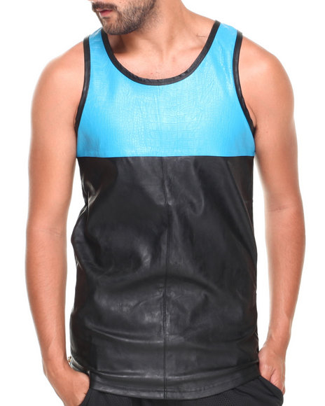 Basic Essentials - Men Black,Teal Color Block Faux Leather Tank