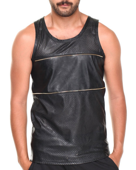 Basic Essentials - Men Black Faux Leather Mesh Zipper Tank Top