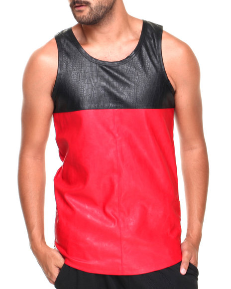 Basic Essentials - Men Black,Red Color Block Faux Leather Tank