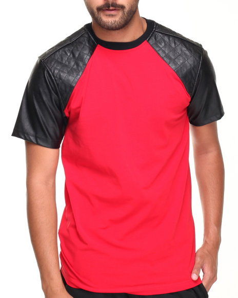 Basic Essentials - Men Red Crew Neck Faux Leather Tee