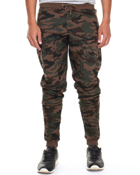 Basic Essentials - Men Camo Semi Drop Crotch French Terry Sweat Pants