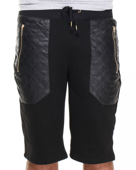 Basic Essentials - Men Black French Terry Shorts With Faux Leather Trim