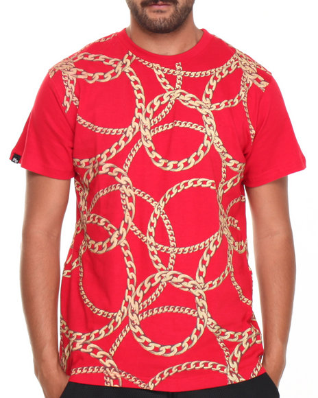 Buyers Picks - Men Red All Over Gold Chains Tee