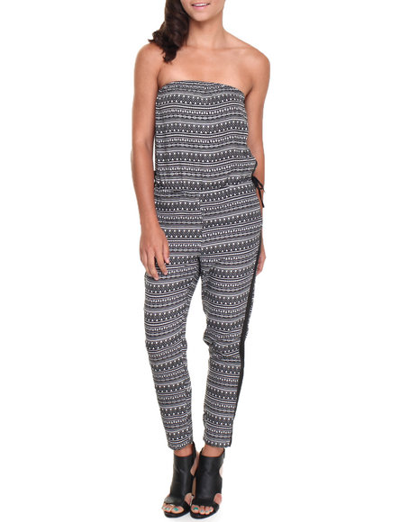 Ali & Kris - Women Black Strapless Aztec Jumpsuit