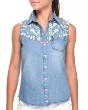 Women - Bleached Embroidered Sleeveless Denim Shirt