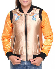 Women - Quilted Satin Bomber w/ Parrot Embroidery