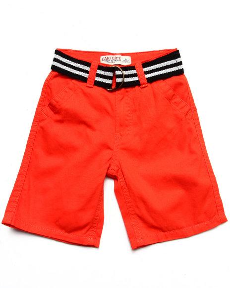 Arcade Styles - Boys Orange Belted Twill Shorts (4-7)