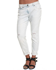 Women - Bleached Acid Washed Ripped Boyfriend Jean