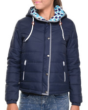 Women - Hooded Puffer Jacket w/ Denim Chambray Piping