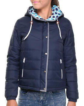 Bellfield - Hooded Puffer Jacket w/ Denim Chambray Piping