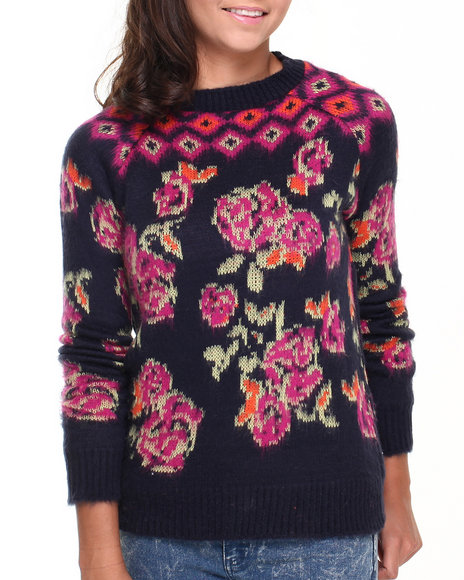 Bellfield - Women Navy Tropical Floral Sweater W/ Ribbed Bottom