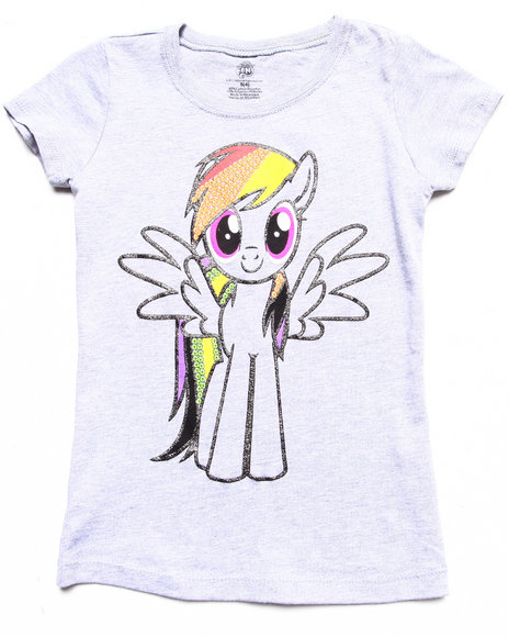 La Galleria Girls Light Grey Rainbow Dash Tee (4-6X)