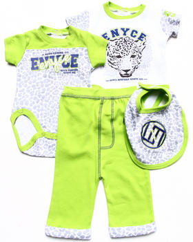 Enyce - 4 PC SET - 2 LEOPARD CREEPERS, BIB, & PANTS (NEWBORN)