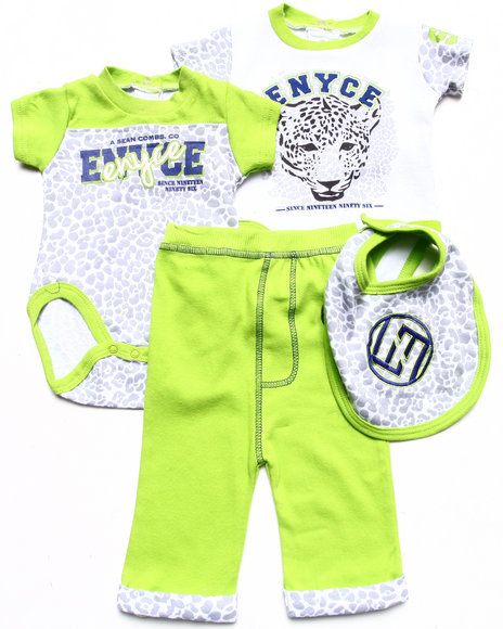 Enyce Boys Green 4 Pc Set 2 Leopard Creepers, Bib, & Pants (Newborn)