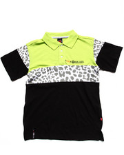 Tops - LEOPARD COLOR BLOCK POLO (8-20)