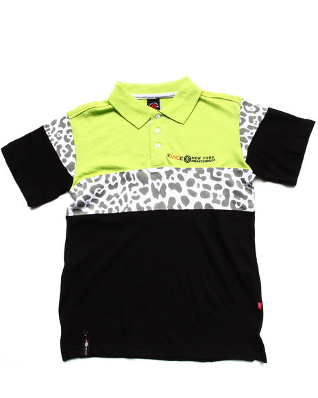 Enyce Boys Lime Green Leopard Color Block Polo (8-20)